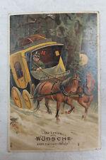AK Neujahrskarte Kiutsche Postkutsche im verschneiten Wald 1910