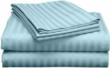Egyptian Cotton Light Blue Stripe Sheets 400 Tc Bed Sheet Sets with Easy Fit