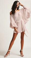 Forever 21 Ruffle Satin Romper Jumpsuit Shorts Metallic Pink Medium M NEW! $68