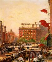 VIEW OF BROADWAY AND FIFTH AVENUE 1890 NEW YORK PAINTING BY CHILDE HASSAM REPRO