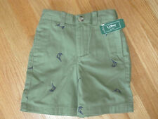 Toddler boy LL BEAN MARLIN SWORDFISH NAUTICAL OLIVE GREEN SHORTS NWT 4T