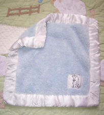 Little Giraffe Baby Blue Plush On The Go Security Blanket w/White Satin Edge 12""
