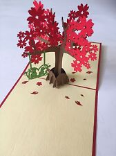 3D Pop Up - Greeting Card - A Couple Of Bears Sit On The Swing Under The Tree
