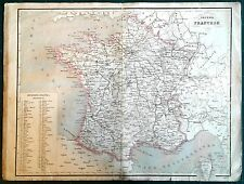 Carta geografica antica FRANCIA FRANCE Pagnoni 1860 Old antique map
