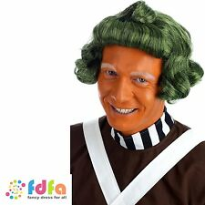 UMPA LUMPA OOMPA LOOMPA GREEN WIG FACTORY WORKER WONKA mens fancy dress costume
