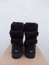 UGG BLACK BRIGETTE BAILEY BOW SUEDE/ SHEEPSKIN BOOTS, WOMENS US 9/ EUR 40 ~NIB