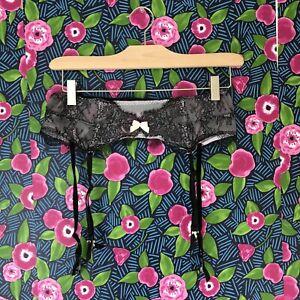Victoria's Secret Very Sexy Garter Belt Mesh & Black Lace Sz. M/L NEW