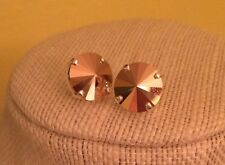 Swarovski crystal Elements 12mm Rose Gold stone Stud earrings New!