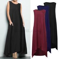 UK Women's Sleeveless Kaftan Gown Solid Color Beach Holiday Long Maxi Dress Plus