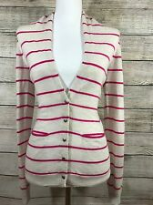 Womens Theory White Long Sleeve Blouse Pink Stripe Cashmere Button Size S BinJ