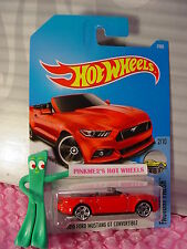 2015 FORD MUSTANG GT CONVERTIBLE #7✰Red✰Factory fresh✰2017 i Hot Wheels Case A/B