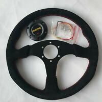 340mm Red Stitch Suede Steering Wheel Flat Racing OMP Drift ND Rally #001