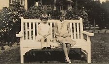 Vintage Photograph Little Girls Pose On A White Bench Nice Image 1940s