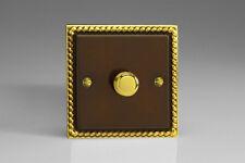 VARILIGHT Hg3 1 Gang 2 Way 400w Dimmer Switch Georgian Brass -