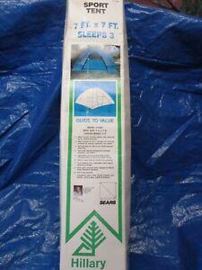 Sears Hillary Sport Tent 7x7 3 Person Model 77487