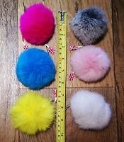 *UK Seller* Real Rabbit Fur Pompom Keyrings Bag Charm Keychains 8cm Ring Pom Pon