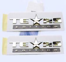 2x OEM Chrome TEXAS Edition Emblems BADGE For Chevrolet SIERRA GM Silverado Pair