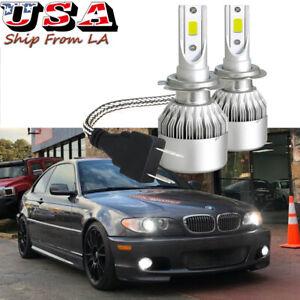 Xenon White 6000K LED High Low Beam Headlight DRL Bulbs For BMW E46 325i 328i M3