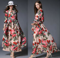 2018 Womens Summer Fashion Temperament Chiffon Printing High Waist A-line Dress