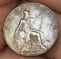 1909 GREAT BRITAIN GB Farthing Edward VII **XF/AU** BRONZE Great TONING Coin