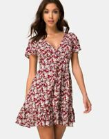 MOTEL ROCKS Laily Skater Dress in Floral Charm Red Size Small S   (mr6)