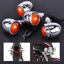 4x Motorcycle Chrome Metal Bullet Turn Signal Light Indicator For Harley Chopper
