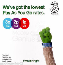 Three UK Trio Standard Pay as You Go 4G SIM Pack - PAYG -  Fast 1st Class Post