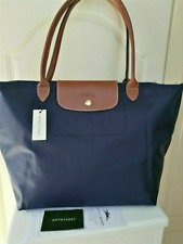 Womens New Longchamp Le Pliage Nylon Tote Handbag Bag Size L Navy Blue
