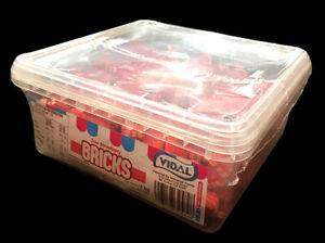 Vidal Sour Stawberry Bricks 1kg Bulk Lollies  Free Delivery