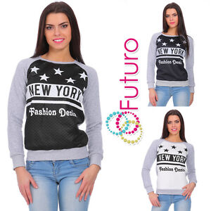 Ladies Casual New York Print Top Crew Neck Pullover Fitted Sweatshirt FZ77