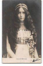 Real Photo-Cleo de Merode-French Dancer-Long Hair-RPPC-Antique Postcard