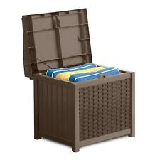 Suncast 22 Gallon Outdoor Resin Wicker Deck Storage Box with Seat, Java Brown