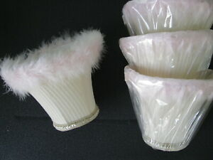 4 Fabric Lamp Shades PINK Fur/Fluffy Trim-Light Cream Color 5'' tall x 6'' wide
