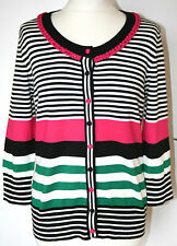 Per Una UK14 EU42 US10 new pink/black/green striped cardigan with 3/4 sleeves