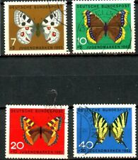 Germany 1962 Butterflies in Natural Color 4 USED Semi-Postals Scotts B380 - B383