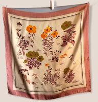 "27"" Echo Vintage Scarf Ivory Pink Border Poppies Silk Poppy Floral Feminine"