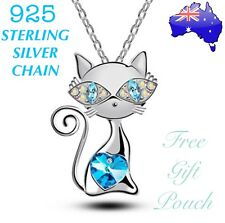 Crystal Cat Blue Love Heart Pendant 925 Sterling Silver Chain Necklace Gift NEW