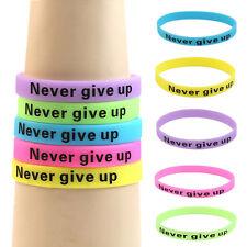 "Mode Silikon Gummi Elastizität Sport Armband Stulpe ""Never Give Up"" Glow In Dark"
