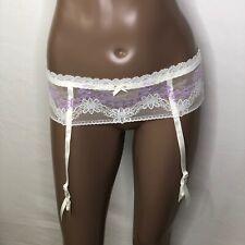 S 4/6 Hanky Panky Signature Violet Flower Elastic Lace 4 Adj Garter Belt #2CG111