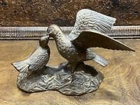 Vintage Mid Century BRASS QUAIL Bird ~ Hunting cabin decor ~ Mother / baby