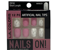 L.A. Colors 12 Pc Artificial Nail Tips Marbled Short Length