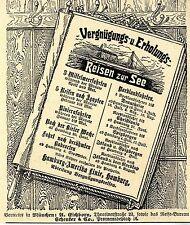 Hamburg- Amerika- Linie Hamburg Reisen zur See Vergnügungs... Histor.Werbung1907