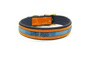 Genuine Tan leather on Blue leather with a Blue Harris tweed Inlay