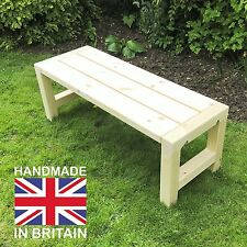 Wooden Garden Bench Handmade Chunky Solid Timber Patio Seat Furniture