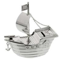 Silver Plated Pirate Ship Bank Money Box