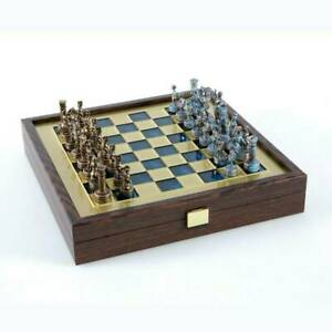 Manopoulos Greek Roman Army Chess Set - Blue Copper Pawns - Blue Board