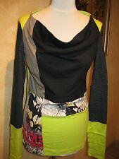 Shirt  mit Wasserfallkragen Gr. 40 - Einzelteil  Brandt Design  NEU mint-schwarz