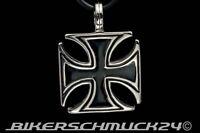 Eisernes Kreuz Anhänger Edelstahl mit Lederband Bikerschmuck Herren Geschenk NEU