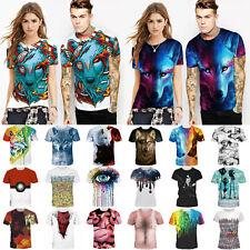 Mens Women Funny 3D Print Short Sleeve Tops Graphic Fancy T-Shirts Blouse Shirts