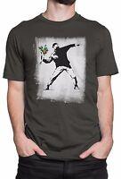 "T-shirt Uomo ""Flower Bomber - Banksy"" - maglietta 100% cotone - Grafite"